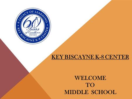 KEY BISCAYNE K-8 CENTER WELCOME TO MIDDLE SCHOOL.