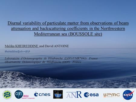Diurnal variability of particulate matter from observations of beam attenuation and backscattering coefficients in the Northwestern Mediterranean sea (BOUSSOLE.