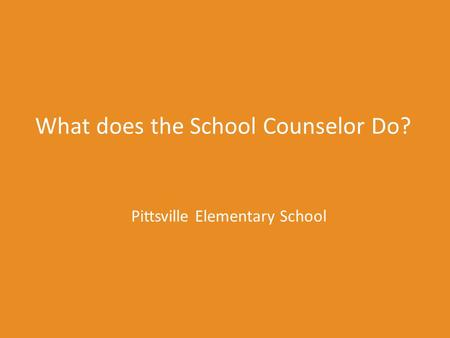 What does the School Counselor Do? Pittsville Elementary School.