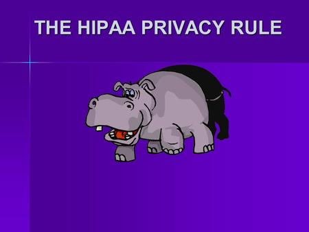 THE HIPAA PRIVACY RULE. What is HIPAA? Health Health Insurance Insurance Portability and Portability and Accountability Accountability Act Act (Passed.