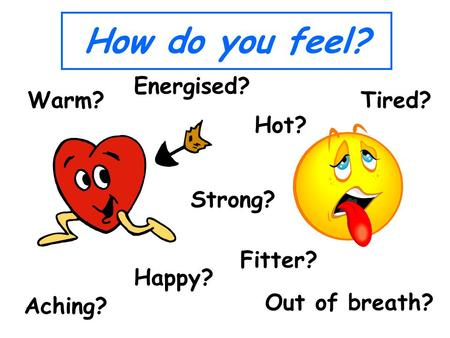 How do you feel? Tired? Energised? Hot? Out of breath? Happy? Warm? Strong? Aching? Fitter?