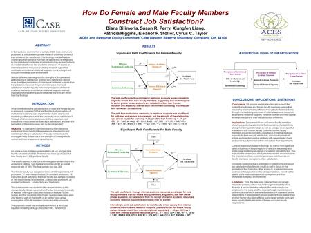 How Do Female and Male Faculty Members Construct Job Satisfaction? Diana Bilimoria, Susan R. Perry, Xiangfen Liang, Patricia Higgins, Eleanor P. Stoller,