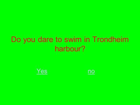 Do you dare to swim in Trondheim harbour? Yesno. Why?