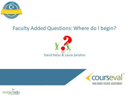 Faculty Added Questions: Where do I begin? David Neiss & Laura Sandino.