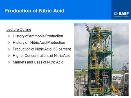 Production of Nitric Acid Lecture Outline  History of Ammonia Production  History of Nitric Acid Production  Production of Nitric Acid, 68 percent 