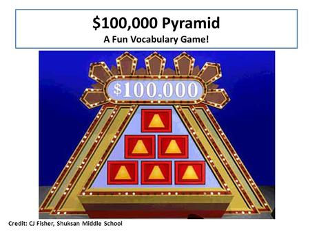 $100,000 Pyramid A Fun Vocabulary Game! CAN YOU GUESS ALL SIX WORDS IN 1 MINUTE? Player 1: Sees the word and defines/describes it without saying the word.