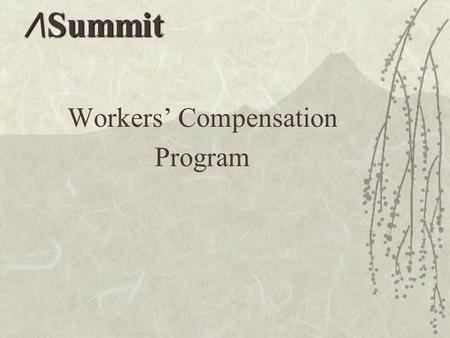 Workers' Compensation Program /\Summit. Post-Injury Procedure  Injury occurs  Assess the situation  How severe is the injury?  First-Aid Only  Minor/Moderate.