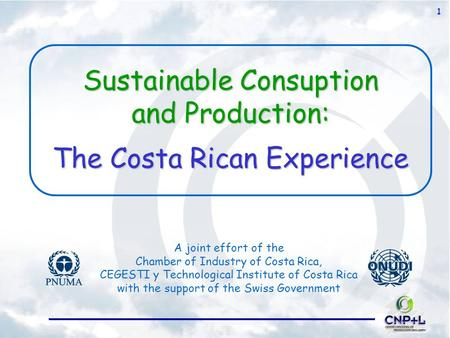 1 Sustainable Consuption and Production: The Costa Rican Experience A joint effort of the Chamber of Industry of Costa Rica, CEGESTI y Technological Institute.