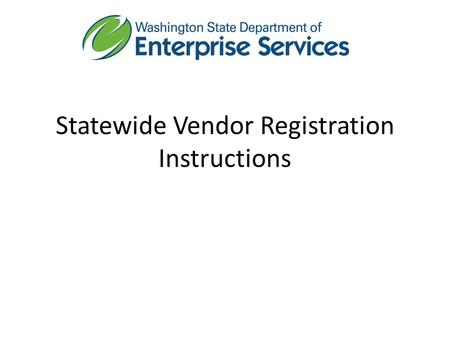 Statewide Vendor Registration Instructions