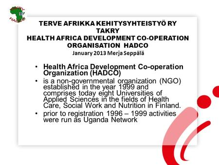 Health Africa Development Co-operation Organization (HADCO)