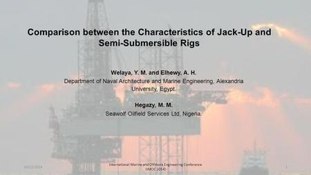 Comparison between the Characteristics of Jack-Up and Semi-Submersible Rigs Welaya, Y. M. and Elhewy, A. H. Department of Naval Architecture and Marine.