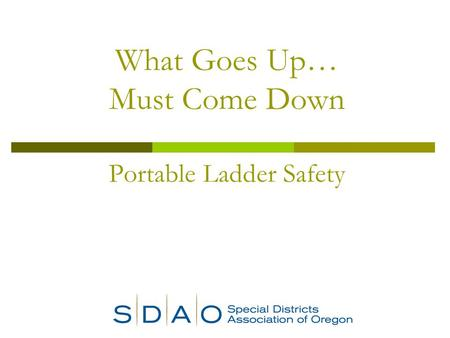 What Goes Up… Must Come Down Portable Ladder Safety.