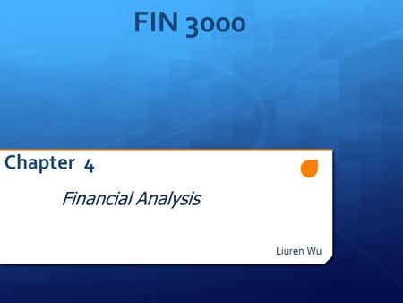 FIN 3000 Chapter 4 Financial Analysis Liuren Wu. Overview 1. Why Do We Analyze Financial Statements 2. Common Size Statements – Standardizing Financial.