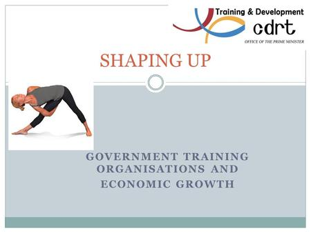 GOVERNMENT TRAINING ORGANISATIONS AND ECONOMIC GROWTH SHAPING UP.