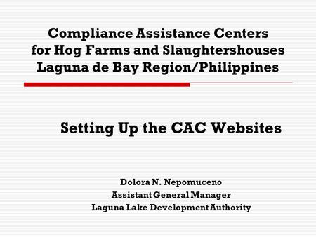 Compliance Assistance Centers for Hog Farms and Slaughtershouses Laguna de Bay Region/Philippines Setting Up the CAC Websites Dolora N. Nepomuceno Assistant.