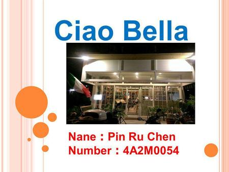 Ciao Bella Nane : Pin Ru Chen Number : 4A2M0054. CONTACT  Address: 710 TAINAN CITY – Taiwan No.65, Yujhong Rd.  Tel. 06-331 8692.