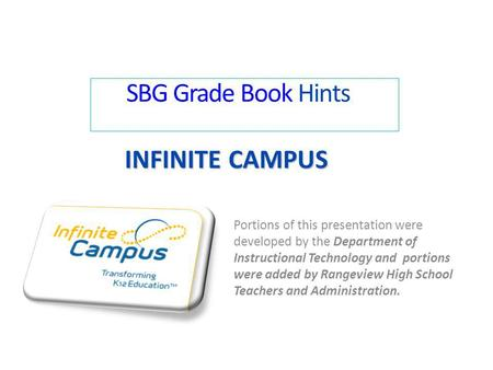 SBG Grade Book Hints Infinite Campus