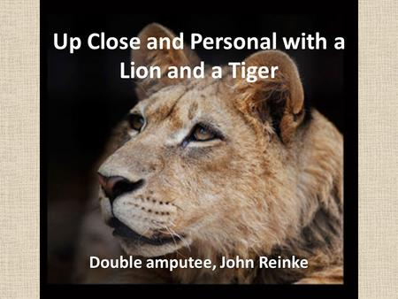 Up Close and Personal with a Lion and a Tiger Double amputee, John Reinke.