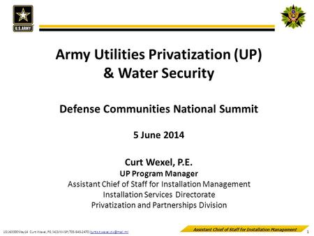 Army Utilities Privatization (UP) Defense Communities National Summit