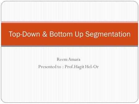 Top-Down & Bottom Up Segmentation