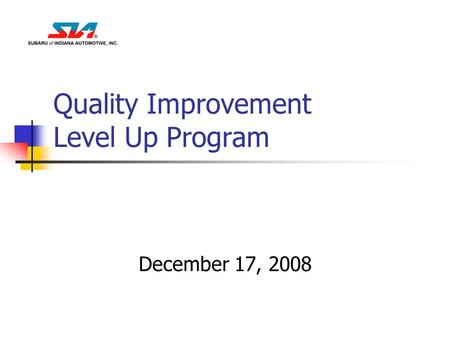 Quality Improvement Level Up Program December 17, 2008.