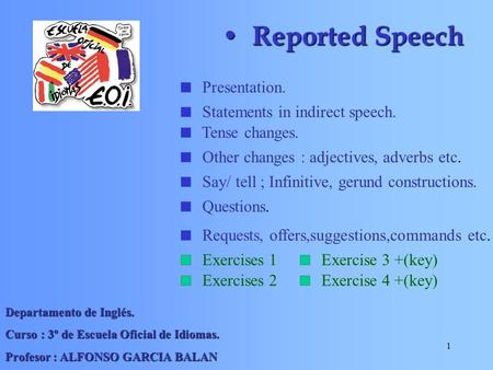 Reported Speech Presentation. Statements in indirect speech.