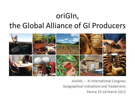 AAAML - XI International Congress Geographical Indications and Trademarks Parma 15-16 March 2013 oriGIn, the Global Alliance of GI Producers.