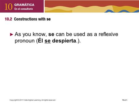 As you know, se can be used as a reflexive pronoun (Él se despierta.).