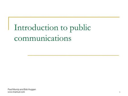 Introduction to public communications