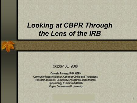VCU Center for Clinical and Translational Research1 Looking at CBPR Through the Lens of the IRB Cornelia Ramsey, PhD, MSPH Community Research Liaison,