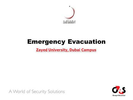 Emergency Evacuation Zayed University, Dubai Campus.