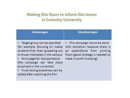 Making film flyers to inform film lovers in Coventry University AdvantagesDisadvantages Target group can be specified (for example, focusing on media students.
