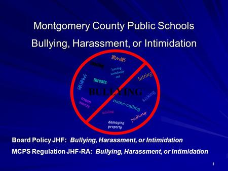 1 Montgomery County Public Schools Bullying, Harassment, or Intimidation Board Policy JHF: Bullying, Harassment, or Intimidation MCPS Regulation JHF-RA: