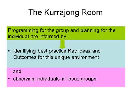 Identifying best practice Key Ideas and Outcomes for this unique environment The Kurrajong Room and observing individuals in focus groups. Programming.