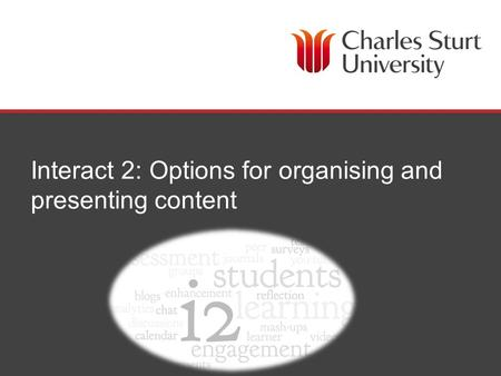 Interact 2: Options for organising and presenting content.