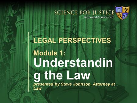 Module 1: Legal PerspectivesModule 1: Alcohol Science and the Law Module 1: Understandin g the Law presented by Steve Johnson, Attorney at Law LEGAL PERSPECTIVES.