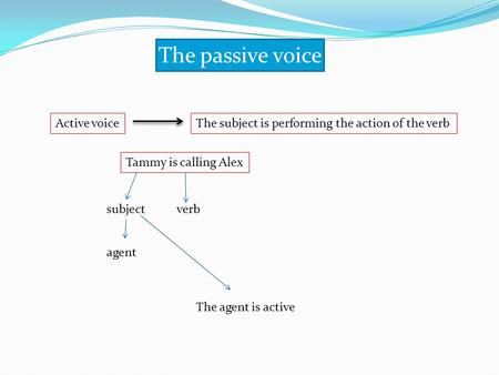 The <strong>passive</strong> <strong>voice</strong> <strong>Active</strong> voiceThe subject is performing the action of the verb Tammy is calling Alex subjectverb agent The agent is <strong>active</strong>.