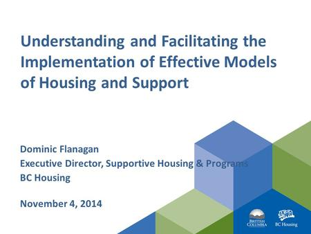 Understanding and Facilitating the Implementation of Effective Models of Housing and Support Dominic Flanagan Executive Director, Supportive Housing &