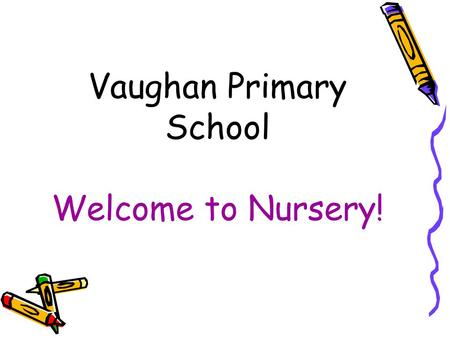 Vaughan Primary School Welcome to Nursery!. Tonight's Aims  To inform you about the EYFS and to explain the areas of learning and development  To talk.