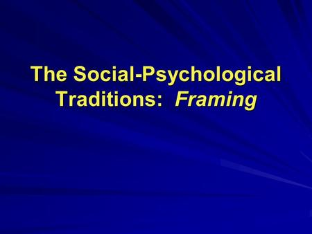 The Social-Psychological Traditions: Framing. Structural-Systemic Perspective Emotional Perspective Cognitive Perspective Interests Perspective Anatomy.