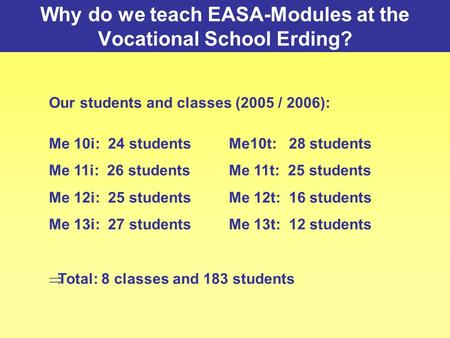 Why do we teach EASA-Modules at the Vocational School Erding? Our students and classes (2005 / 2006): Me 10i: 24 studentsMe10t: 28 students Me 11i: 26.