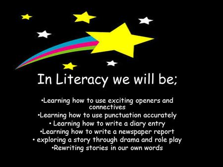 In Literacy we will be; Learning how to use exciting openers and connectives Learning how to use punctuation accurately Learning how to write a diary entry.