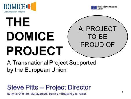 THE DOMICE PROJECT A Transnational Project Supported by the European Union Steve Pitts – Project Director National Offender Management Service – England.