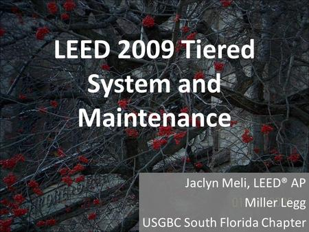 LEED 2009 Tiered System and Maintenance Jaclyn Meli, LEED® AP Miller Legg USGBC South Florida Chapter.