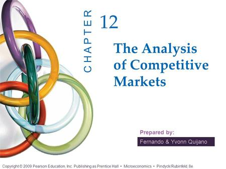 Fernando & Yvonn Quijano Prepared by: The Analysis of Competitive Markets 12 C H A P T E R Copyright © 2009 Pearson Education, Inc. Publishing as Prentice.