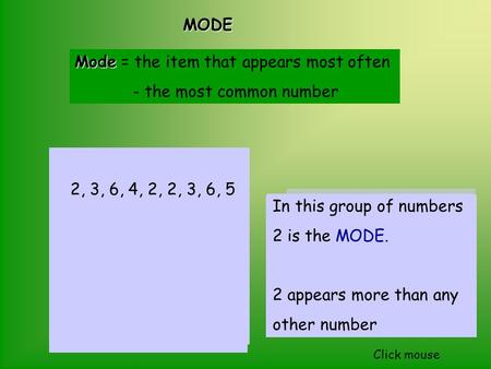 MODE MODE Mode Mode = the item that appears most often - the most common number In this group of fruit APPLES are the MODE. There are more apples than.