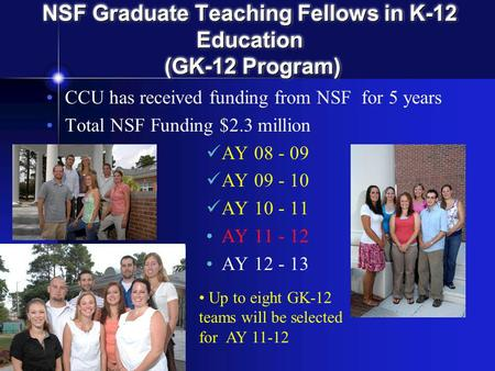 NSF Graduate Teaching Fellows in K-12 Education (GK-12 Program) CCU has received funding from NSF for 5 years Total NSF Funding $2.3 million AY 08 - 09.