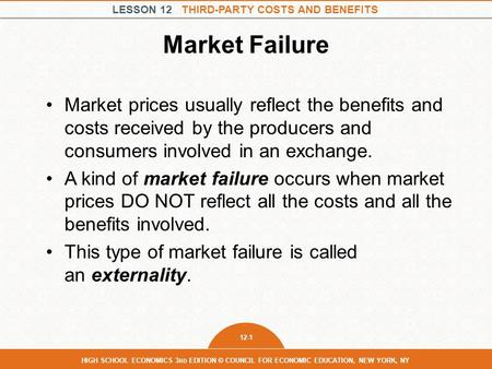 market failure in unemployment benefits We can collect conventional mechanisms for market failure into two  shifting of costs or benefits outside of the market between  for econ 101: market .