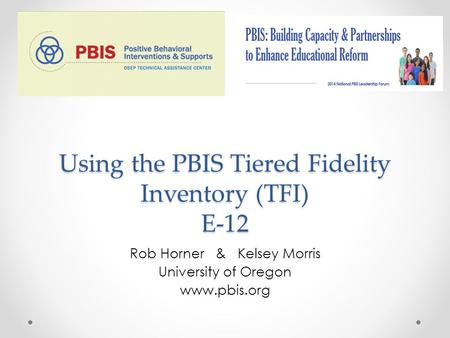 Using the PBIS Tiered Fidelity Inventory (TFI) E-12