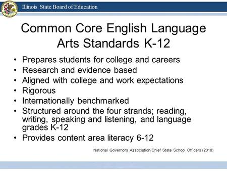 Common Core English Language Arts Standards K-12 Prepares students for college and careers Research and evidence based Aligned with college and work expectations.